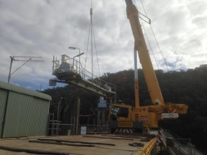 Existing hoist gear and platform being removed from gate 1